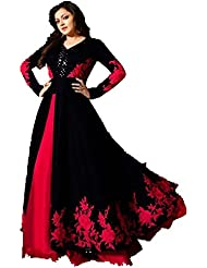 Royal Export Women's Bangalori Silk Black And Red Anarkali Semi-Stitched Salwar Suit