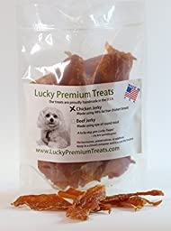 Chicken Jerky Strips & Bits Natural Dog Treats Made in the USA Only by Lucky Premum Treats, 10 Ounce Bag