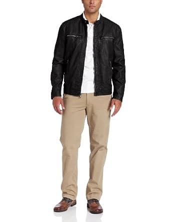 Levi's Men's Faux Leather Motocross Racer Jacket, Black, X-Large