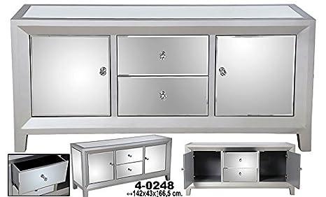 Sideboard C/2Schubladen + 2Turen Holz C/Spiegel Silber