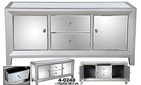 Aparador c/2 cajones+2 puertas madera c/espejos plata