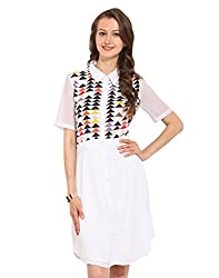 Printed Polyester Collared Dress Large