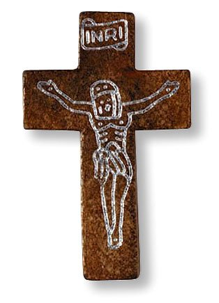Light Tone Wooden Budded Cross Pendant Medal Charm Necklace Christian Catholic