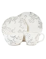 PLS Fitz and Floyd 20-321 Hydrangea 4-Piece Dinnerware Set, Black and White, no tax