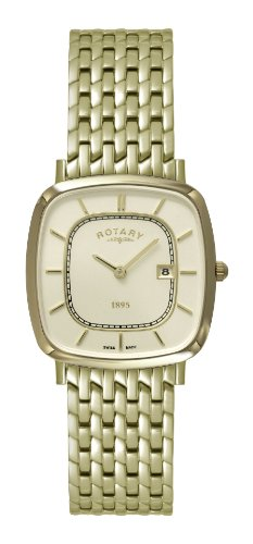 Gents/Men's Gold Plated Rotary Quartz/Battery Ultra Slim Watch on Bracelet with Champagne Dial & Sapphire Glass. GB08102/03