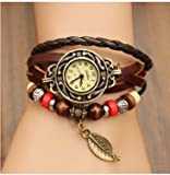 WAWO Quartz Fashion Weave Wrap around Leather Bracelet Lady Women Wrist Watch (Brown-Leaf)