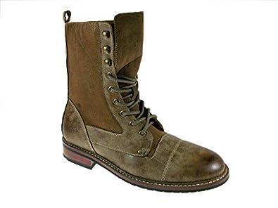 Polar Fox Men's 801025 Calf High Military Boots, Brown, 7.5