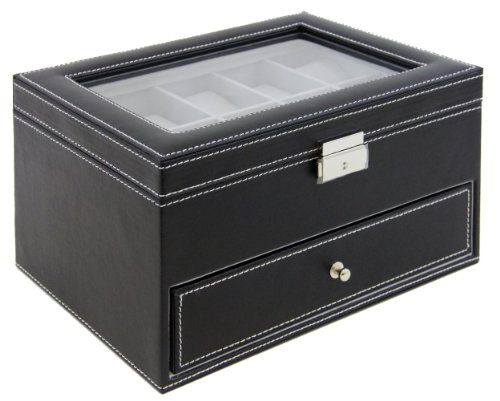 Watch Box Large 20 Mens Black Leather Display