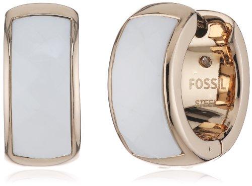 Fossil - Orecchini ad anello, Acciaio inossidabile, Donna