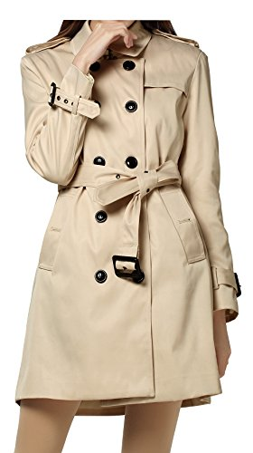Vintage Women Turn Down Collar Double Breast Slim Long Trench Coat with belt (M, Beige)
