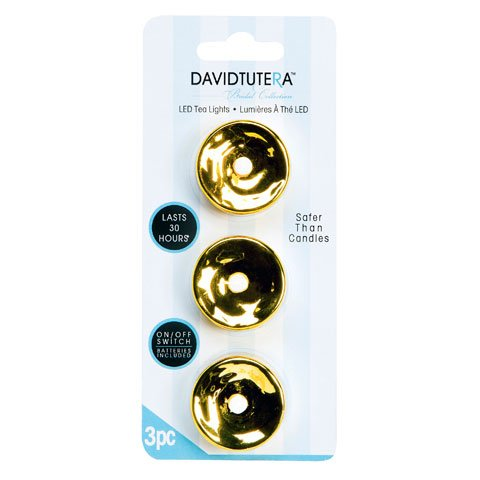 Bulk Buy: Darice Diy Crafts David Tutera Tealights Gold Plated 3 Pieces (4-Pack) Dt6203-11G