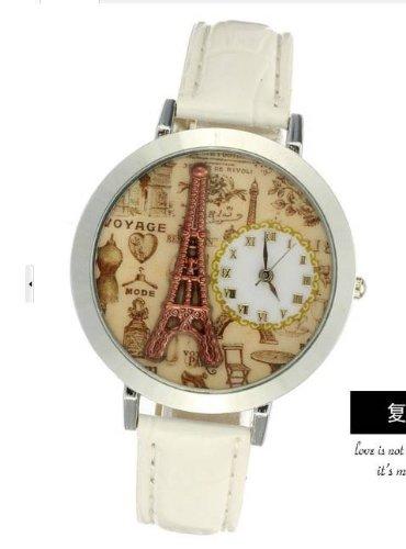 Kano Bak(Tm) Lady Women'S Eiffel Tower Analog Watch With Faux Leather Strap Gift White