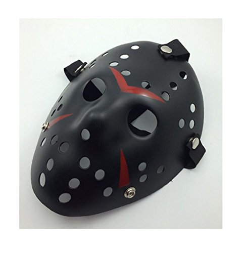 [New Jason vs Freddy The 13th Prop Horror Hockey Costume Cosplay Halloween Mask (Black Red)] (Halloween Little Dead Riding Hood Costume)