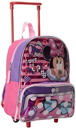 Disney Little Girls'  Minnie Mouse Mini Rolling Backpack, Pink, One Size