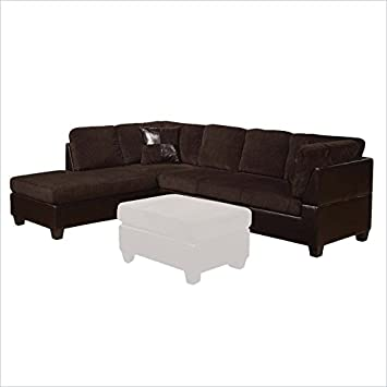 ACME Furniture Connell Sectional Sofa in Chocolate and Espresso