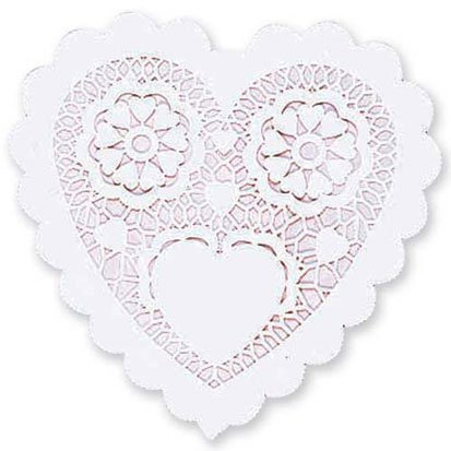 White Heart Shaped 6in Doilies 20ct