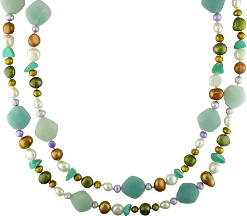 Multi-color Pearl and Multi-gemstone Necklace