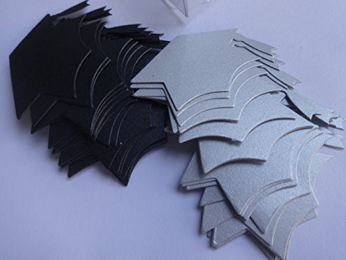 Graduation Confetti 40 Pc Blackand Silver Card Stock 20 of Each Color