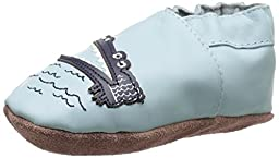 Robeez Gator Greg Soft Sole Crib Shoe (Infant), Baby Blue, 0-6 Months M US