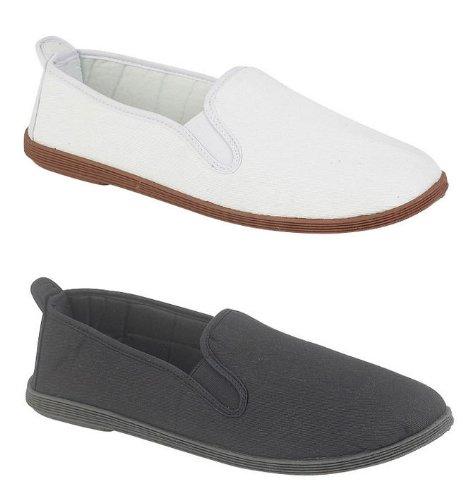 Mens Canvas Slip On Espadrilles Boat Deck Shoes Pumps Black White Size 7 8 9 10 11 12
