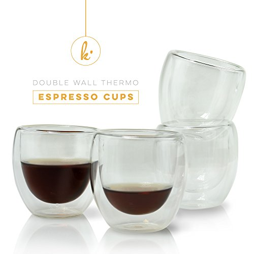Espresso Cups Shot Glass Coffee Set of 4 - Double Wall Thermo Insulated (Glass Expresso Cups Set compare prices)