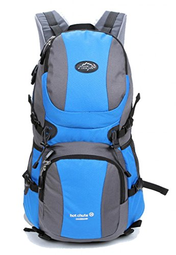 Zerd Outdoor Waterproof Nylon Mountaineering Camping Travel Backpack Trekking Bag 30L Light Blue front-264727