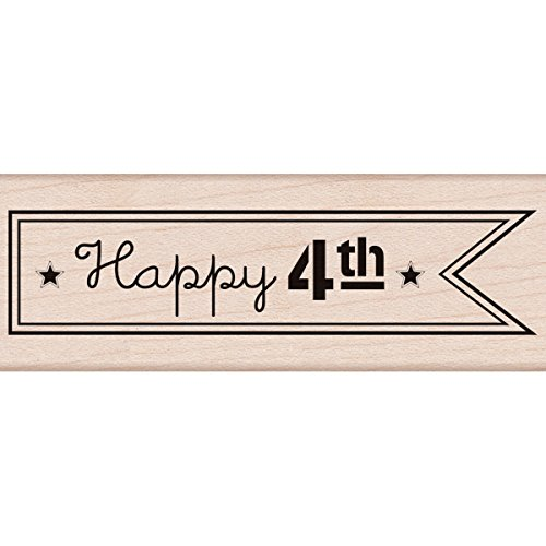 "Hero Arts Happy 4th Flag Mounted Rubber Stamp, 3.75"" by 1.25"" - 1"