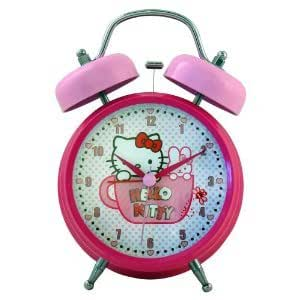 Amazon Com Hello Kitty Twin Bell Alarm Clock Childrens