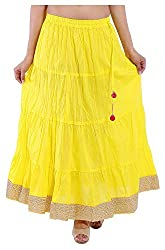 Magnus Women's Long Skirt (SKT464, Yellow, M)