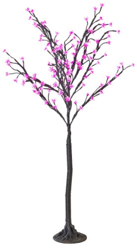 Arclite Nbl-130-8 Cherry Blossom Tree, 4.5' Height, With Black Trunk, Pink Crystals And Pink Lights
