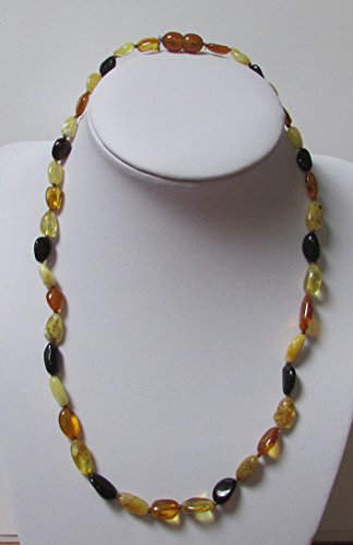 Adult Multi Colour Baltic Amber 44cm Knotted Oval and Elongated Necklace by Amber Corner