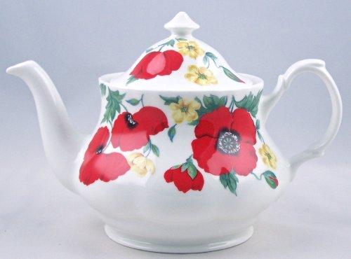 Fine English Bone China Teapot - 6 Cup - Monet Wild Poppy Chintz - Roy Kirkham, England