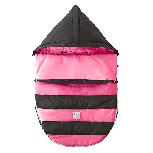 7AM Enfant Bee Pod Baby Bunting Bag for Strollers and Car-Seats with Removable Back Panel, Black/Neon Pink, Medium/Large