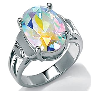 PalmBeach Jewelry 5.81 TCW Oval Cut Aurora Borealis Cubic Zirconia Sterling Silver Cocktail Ring
