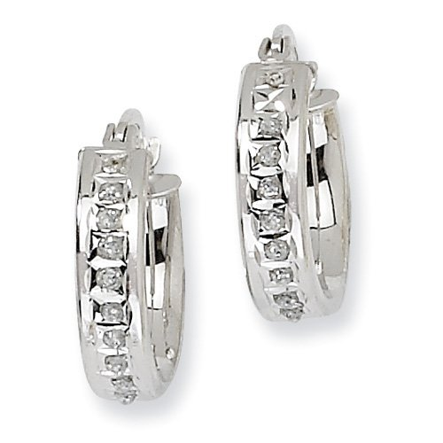 Sterling Silver Diamond Mystique Round Hinged Hoop Earrings. Comes in a lovely Gift Box