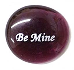 Be Mine Colored Glass Imprinted Love Stones - Sayings