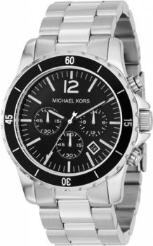 Michael Kors Fashion Men's Quartz Watch with Black Dial Chronograph Display and Silver Stainless Steel Strap MK8140