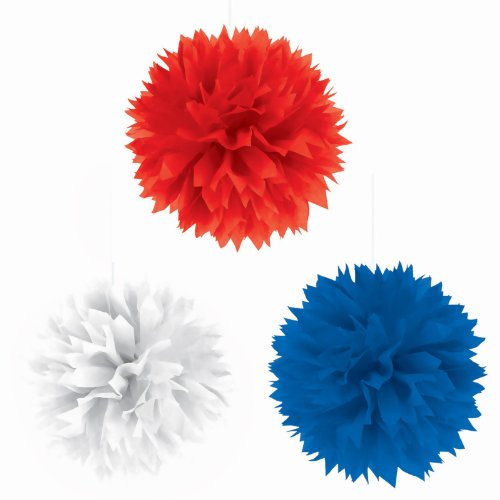 Red, White & Blue Fluffy Decorations Party Accessory