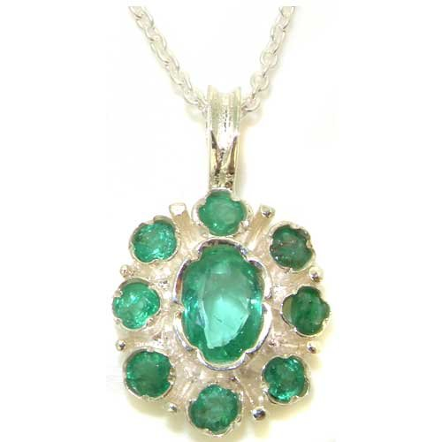 Unusual Luxury Ladies Solid 925 Sterling Silver Natural Emerald Pendant Necklace with English Hallmarks - Ideal for Christmas, Birthday, Anniversary or Mothers Day Gift