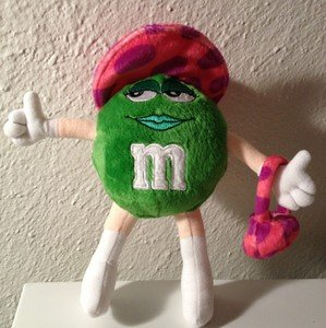 Green M&M's Lady Plush - Pink / Purple Hat and Purse - 1
