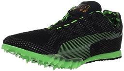 Puma Bolt Evospeed Mid Dist Track Shoe,Black/Fluorescent Green,10 D US