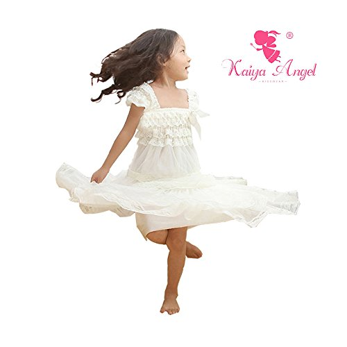 Kaiya Angel Lace Flower Rustic Burlap Girl Baby Country Wedding Flower (L, White Ivory)