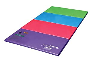 Tumbl Trak Purple, Pink, Light Blue, Lime Green Bright Pastel Tumbling Panel Mat with 2-Feet Folding Panels, 4-Feet Width x 8-Feet Length x 2-Inch Height