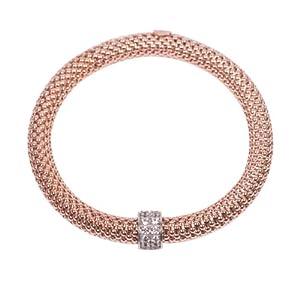 AmberJay Sterling Silver Cubic Zirconia Stretch Bracelet, Rose, Italian, UK Hallmark