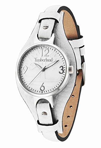 Timberland - TBL.14203LS-01 - Deering - Montre Femme - Quartz Analogique - Cadran Argent - Bracelet Cuir Blanc