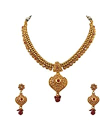 Zephyrr Fashion Traditional Gold Plated Necklace Dangler Earrings Set With Zircons Stones