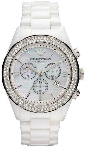 Armani Ceramica Women's Watch All White Crystals Set Chronogragh Bracelet Ar1456