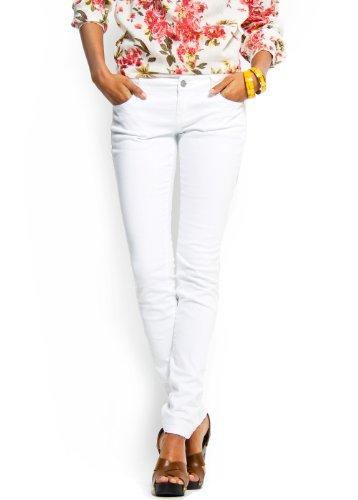 Mango Women's Slim-leg Five Pockets Jeans, 5, White