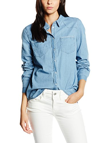Vila Lu-Camicia Donna    Blu (Medium Blue Denim) 38