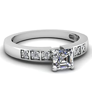 Fascinating Diamonds 0.70 Ct Asscher Cut:Ideal Diamond Cascading Block Engagement Ring VVS2-F 14K GIA